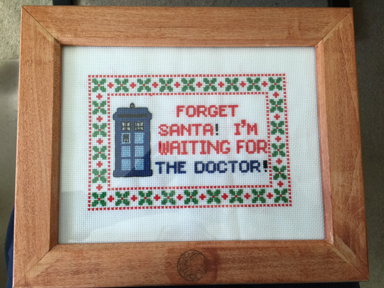 Christmas themed Doctor Who cross-stitch framed artwork