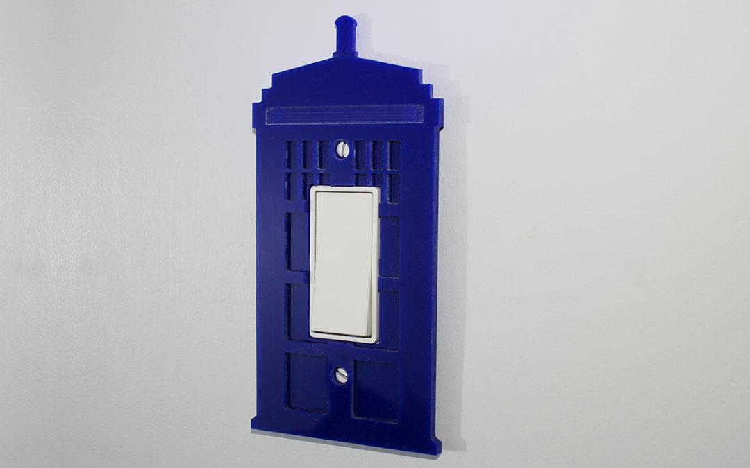 Acrylic TARDIS Lightswitch Cover